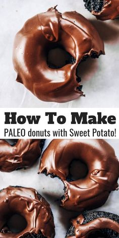 You Have Meals Poisoning More Normally Than You're Thinking That Healthy Paleo Chocolate Glazed Donuts Made With Sweet Potato Instead Of Flour Easy Baked Donut Recipe Perfect For Celebrations Baked Gluten Free Chocolate Donuts. Healthy Dessert Recipes, Healthy Desserts, Paleo Recipes, Paleo Meals, Free Recipes, Cooking Recipes, Homemade Desserts, Paleo Desert Recipes, Jello Desserts