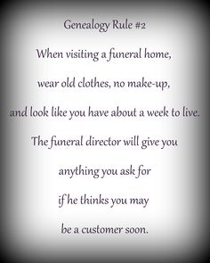 How to get info from a funeral director.... ;-)