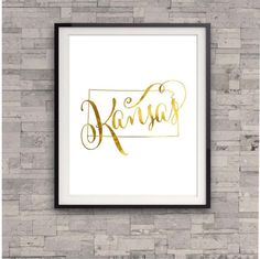 Kansas State Map Print Gold Foil Home Town by TheDigitalStudio, $10.00