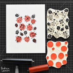 Ladybirds : Original block print by Andrea Lauren