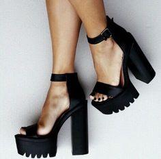 cleated sole platforms shoes black heels black heels