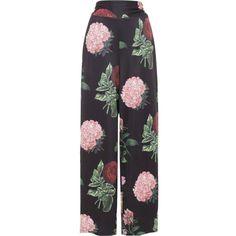 Women's Voodoo Vixen NATALIA Large Vintage Floral Print Pants Black (225 RON) ❤ liked on Polyvore featuring pants, vintage wide leg pants, flower print pants, floral print wide leg pants, vintage pants and floral wide leg trousers
