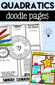 Your students will love reviewing all 5 methods of solving quadratic equations with the fun  Doodle Pages Fun Notes with two styles.