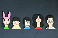 Bob's Burgers Perler Bead Magnets by kelseyrushing on Etsy Melty Bead Patterns, Perler Patterns, Beading Patterns, Embroidery Patterns, Art Patterns, Pearler Beads, Fuse Beads, 3d Quilling, Cross Stitch Boards