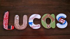 """6"""" Boy's Bench Letters Chicago Cubs by DecorativeDecoupage on Etsy, $70.00"""