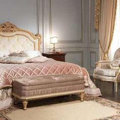 Classic luxury bedroom I Maggiolini: capitonné headboard bed, gold leaf finish, inlayed walnut night tables and chest of drawers, classic upholstered armchair and bench Classic Furniture, Furniture Styles, Custom Furniture, Bedroom Furniture, Luxury Furniture, Luxury Duvet Covers, Luxury Bedding, Gold Bedding, Modern Bedding