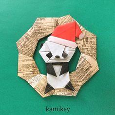 """Nov.11. 2015 「シンプルリース」「パンダ」 「サンタの帽子」 これをかぶせたらとりあえず何でもクリスマスっぽくなる⁉︎ 作り方動画はYouTube のkamikey origami チャンネルにて公開中 Simple Wreath,Panda Designed by me Tutorial on YouTube """"kamikey origami """" #折り紙#ハンドメイド#origami"""
