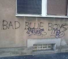 "The graffiti""Bad Blue Boys"" (or it's abbreviation BBB) is common in Zagreb. I thought it was the work of Smurfs fanatics. Turns out that it's something to do with football."
