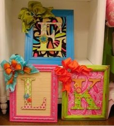 Just take an old picture Frame and paint it. Get a wood letter of your first,middle,or last name. Paint the letters. Get a fun background. Glue the letters to the background. Make or find a fun bow. And there you go!