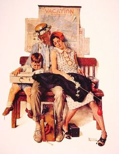Family home from Vacation by Norman Rockwell #art