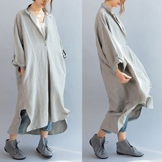 Material : cotton and linen loose fitting style , One size(fit for EU36~48,US6~18,UK8~20) Length : 113-123 cm Shoulder no limit Bust 120 cm Sleeve length 44 cm