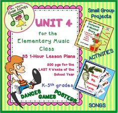 """Amazing unit to complete a 4-unit set of lesson plans for a year. 200 pages! Based on the standards.75 Lesson Plans, K-5th gradeINDEX of songs, activities, games, dancesExtensive instructionsPostersSong sheetsAssessmentsLessons for evaluations that will WOW your evaluator.These lesson plans are from my """"Lesson Plans for a Year"""" bundle which were straight from my lesson plan notebook."""