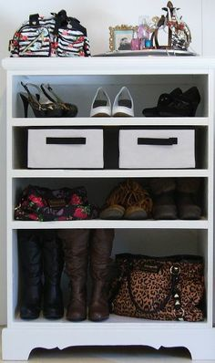 Turn an old dresser into a shoe rack!