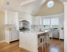 The dimension of the kitchen space, minus the eating area, is Davitt Design Build, Inc. Kitchen Themes, Kitchen Layout, Kitchen Design, Kitchen Ideas, Comfy Cozy Home, Cool Kitchens, White Kitchens, Kitchen Photos, Construction