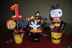 Cute centerpieces at a Mickey Mouse party! See more party ideas at CatchMyParty.com! #partyideas #mickey