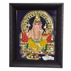 Tanjore Painting of Lord Ganesha - Spices of India