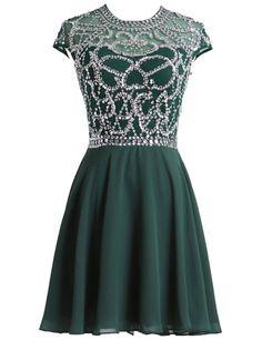 LovingDress Women's Homecoming Dresses A Line Chiffon Scoop Short Prom Dresses Size 2 US Dark Green