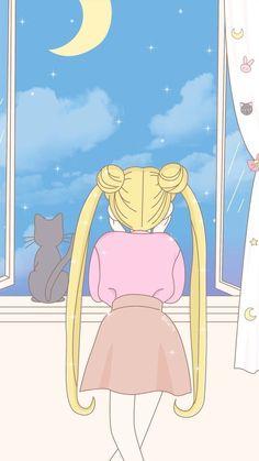 Wallpaper sailor moon serena y luna vista al cielo Sailor Moon S, Sailor Moon Crystal, Kawaii Wallpaper, Pastel Wallpaper, Cartoon Wallpaper, Sailor Moon Aesthetic, Aesthetic Anime, Aesthetic Pastel, Character Aesthetic