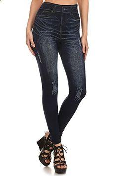 Simplicity Women's Denim Print Fake Jeans Seamless Full Length Leggings  Go to the website to read more description.