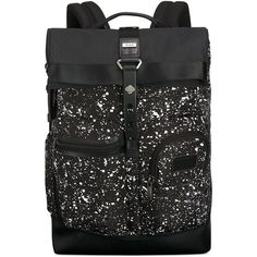 Tumi Alpha Bravo Luke Roll-Top Backpack ($395) ❤ liked on Polyvore featuring bags, backpacks, galaxy print, laptop rucksack, tumi bags, laptop bags, laptop tablet backpack and tablet bag