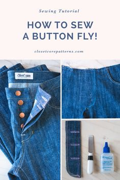 We give you all the tips for sewing a perfect button fly! #closetcorepatterns #sewing #sewersofinstagram #sewist #sewistsofinstagram #diystyle #handmade #wearhandmade #ilovesewing #garmentsewing #handmadefashion #sewcialists #diyfashion #ilovesewing #indiepatterns #sewingpattern #instasew #Sewingisfun #memadewardrobe Sewing Tips, Sewing Hacks, Sewing Tutorials, Sewing Ideas, Sewing Projects, Sewing Patterns, Tandy Leather, Denim Ideas, Patterned Jeans