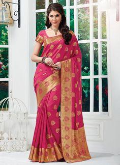 Pink Tussar Silk Sarees  #Sarees #IndianSareesOnline #SilkSarees #TussarSilkSarees #SareesOnline #OnlineShopping