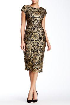 ECI | Short Sleeve Gold Lace Midi Dress | Nordstrom Rack  Sponsored by Nordstrom Rack.