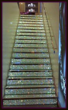 Sparkle stairs! going downstairs into a basement for a children's playroom