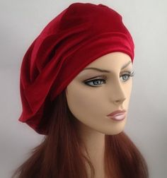A beautiful gift for her, to help her feel as beautiful as you know she is. With or without hair, these oversize slouchy berets will fully cover the head.  Shown in red velvet, available in lots of colors!