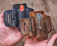 Classic Mini EDC Belt Loop - for Flashlight and Knife - American Vegetable tanned Leather Everyday Carry Belt Loop - Swiss Army or Proper - **Returns: please see return policy. Original shipping costs will be deducted from the refund. Leather Holster, Leather Pouch, Leather Tooling, Tan Leather, Edc Belt, Belt Pouch, Tool Pouch, Diy Jewelry Unique, Edc Everyday Carry