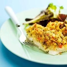 Filetes de peixe assado com crosta de ervas