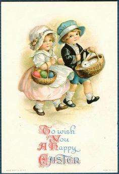 postcard easter children | greetings easter easter precious children with basket of eggs rabbit ...