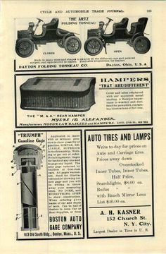 1905 AD Wicker Hampers Auto Car Automobile Myers & Alexander Motor Baskets…