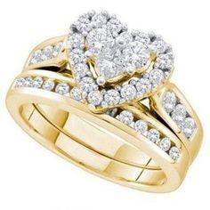 Ladies 14k White Gold 104 Ct Round Cut Diamond Heart Shaped