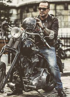 Harley-Davidson springer softail tattoos open-face helmet : : : The Three Horsemen by Laurent Nivalle, via Behance