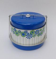 Colorful Mid Century Mod Blue Green Triple Layer Cake Taker Cake Server Safe Vintage Farmhouse Retro Kitchen