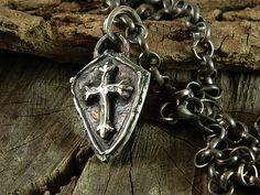 Medieval Shield Cross Fine Silver Necklace Handmade Jewelry for Men or Women