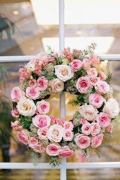 pink rose wreath   Annabella Charles #wedding