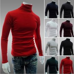 2014 New Men's Sweaters Turtleneck Slim Fit Pullover Thermal Sweater Multi Color Option Solid Design Soft And Warm 8 Color Mens Turtleneck, Men Sweater, Mens Modern Clothing, Turtle Neck Men, Stylish Shirts, Casual Sweaters, Slim Man, Mens Fashion, Trendy Fashion