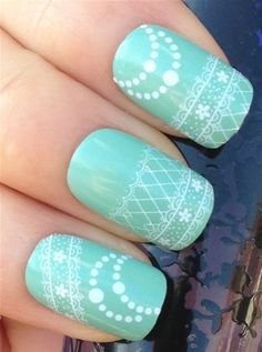 NiceDeco  nail stickers nail tattoo nail deacl water transfers decals white floraldots fish net lace *** For more information, visit image link. Note:It is Affiliate Link to Amazon.