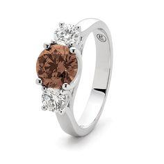 1=1.53ct round Argyle chocolate diamond set in 18ct white gold.  #Australian #Argyle #ChocolateDiamond #diamondrings #diamonds #engagementring #weddings