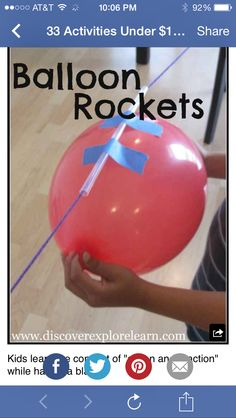 Simple balloon science experiments for kids using balloons. Make a balloon rocket, light up a light bulb with a balloon, blow up a balloon with chemistry, and more! These balloon experiments are super fun and are an easy science experiment for kids to do. Science Projects For Kids, Science For Kids, Science Fun, Science Ideas, Summer Science, Science Lessons, Summer Lesson, Science Experiments For Kids, Science Party