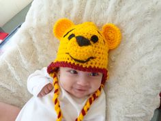 Winnie the Pooh hat by MariaAndNicole on etsy #photo prop #crochet