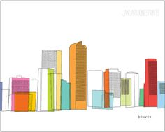 Love to my hometown! xoxo    DENVER skyline in sketch with colors art by JanuaryJonesPrints, $12.00