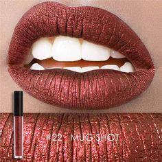 2017 New Focallure Brand Makeup 10 Metal Lip Color Cosmetics Waterproof  Liquid Lipstick Gold Nude Metallic Lip Gloss Kits e66b323017b5