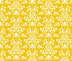 damask lg golden yellow and white fabric by misstiina on Spoonflower - custom fabric