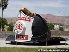 A memorial dedicated to those who lost their lives on 9-11.  It sits in front the #Barstow Fire Department in #California.  #FilmBarstow www.FilmBarstow.com