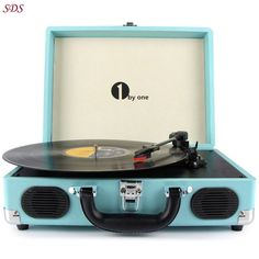 Portable Stereo Turntable Belt Drive 3 Speed Built In Speaker Turquoise Suitcase | Consumer Electronics, TV, Video & Home Audio, Home Audio Stereos, Components | eBay!