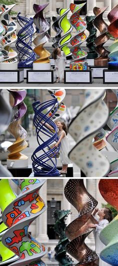 Design firm SomeOne have created 21 DNA sculptures for Cancer Research UK, that have been customised by artists and designers from around the world. The sculptures are currently being displayed on the DNA Art Trail throughout London for ten weeks, before being auctioned at Christie's in September.