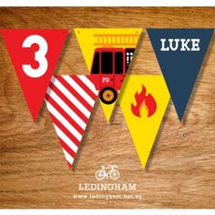 Fire Engine Party Flag Buntings (Personalised DIY Printables)